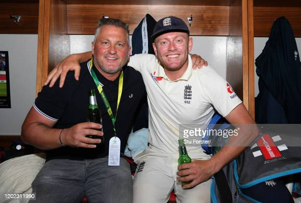 England player Jonny Bairstow with Yorkshire legend Darren Gough in the dressing room after Day Four of the Fourth Test between South Africa and...