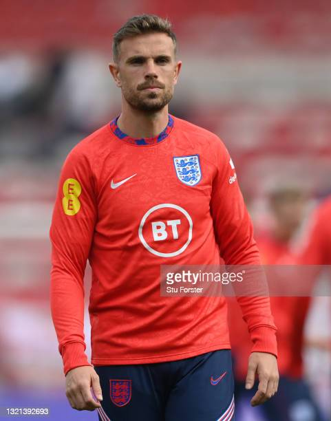 England player Jordan Henderson looks on during the warm up before the international friendly match between England and Austria at Riverside Stadium...