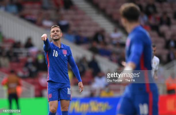 England player Jordan Henderson makes a point during the international friendly match between England and Romania at Riverside Stadium on June 06,...