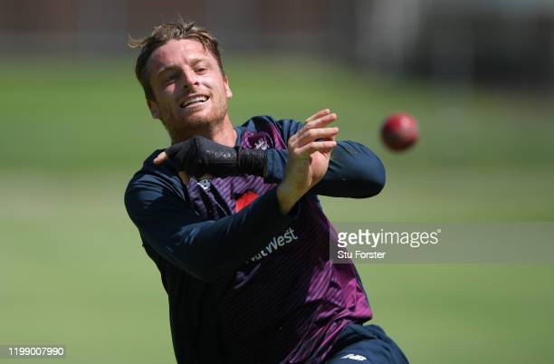 England player Jos Buttler in fielding action during England nets at St George's Park ahead of the 3rd Test match on January 12, 2020 in Port...