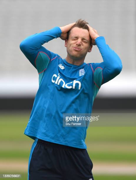 England player Jos Buttler reacts during England nets ahead of the 5th and final test match against India at Old Trafford on September 09, 2021 in...