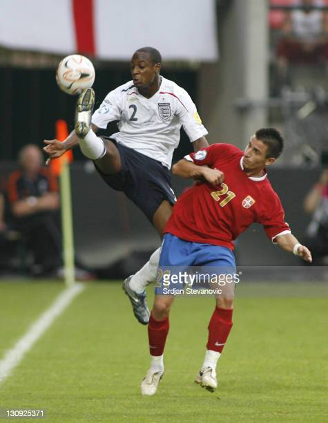 England player Justin Hoyte left in action against Zoran Tosic right during Serbia U21 vs England U21 UEFA European Under 21 Championship Group B...