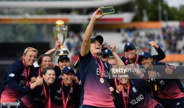 England player Kathryn Brunt takes a selfie with the team after the ICC Women's World Cup 2017 Final between England and India at Lord's Cricket...