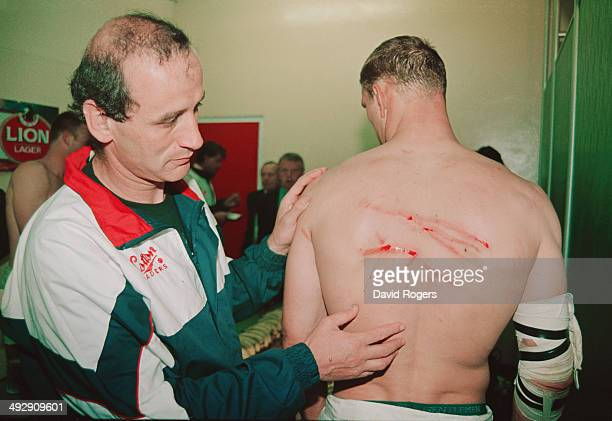 England player Lawrence Dallaglio has his scars looked at in the dressing room by Doctor Terry Crystal The injuries were sustained during the tour...