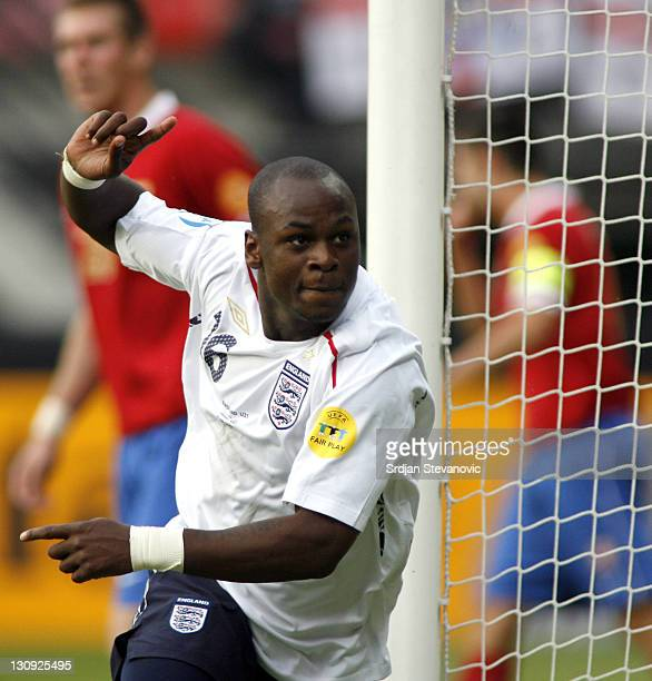 England player Leroy Lita celebrate after hi scote the first goal during Serbia U21 vs England U21 UEFA European Under 21 Championship Group B...
