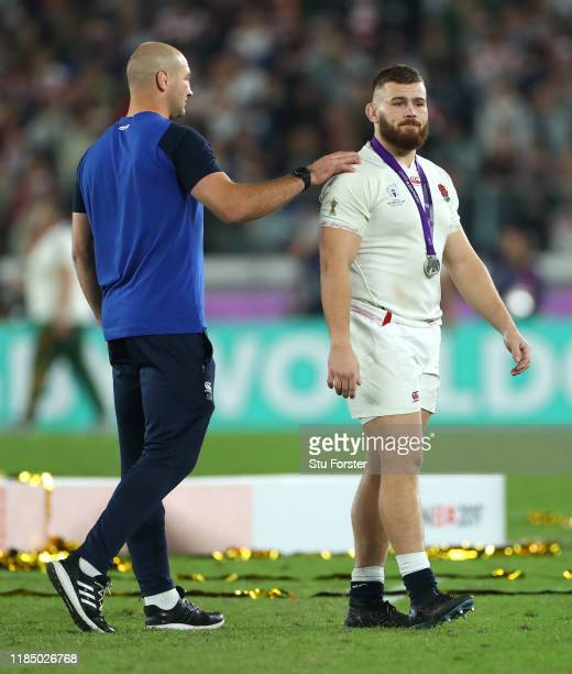 England player Luke CowanDickie is consoled by coach Steve Borthwick after the Rugby World Cup 2019 Final between England and South Africa at...