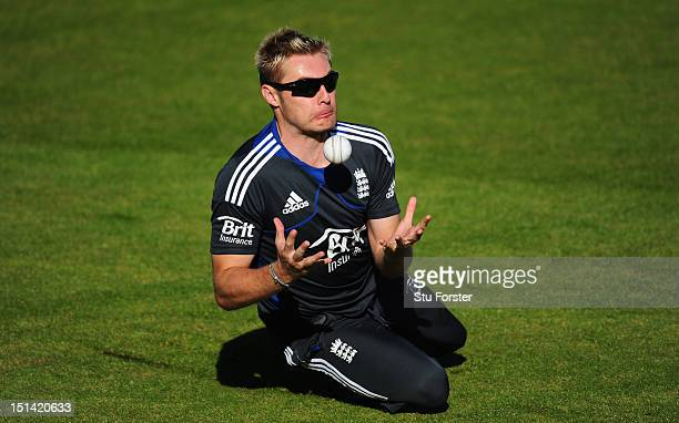 England player Luke Wright in action during England nets at Emirates Durham ICG on September 7 2012 in ChesterleStreet England