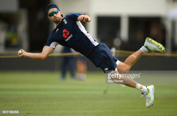 England player Mark Wood in action during a Fielding drill during an England training session ahead of the First ODI v New Zealand Black Caps at...