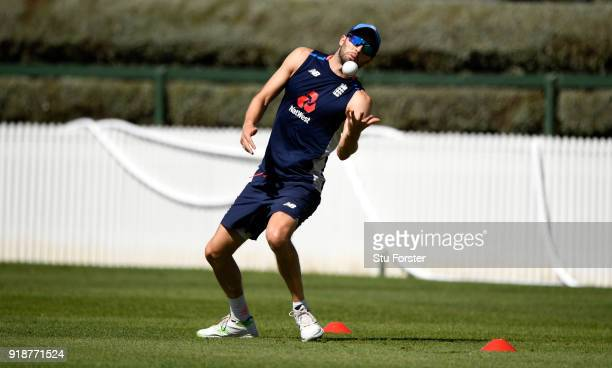England player Mark Wood in action during catching practice during England cricket nets at Seddon park on February 16 2018 in Hamilton New Zealand