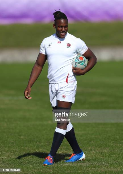 England player Maro Itoje smiles during England captains run ahead of the 2019 Rugby World Cup Final at Fuchu Asahi Football Park on November 01 2019...