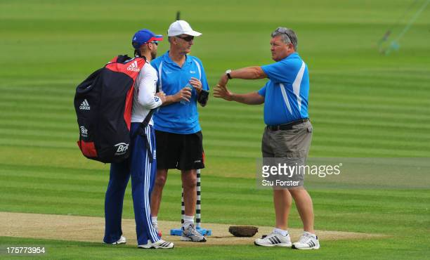 England player Matt Prior chats with the umpires Tony Hill and Marais Erasmus during England practice at Emirates Durham ICG on August 8 2013 in...