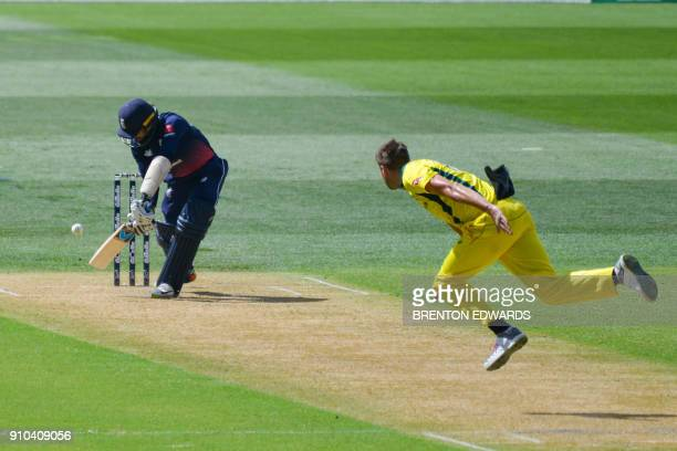 England player Moeen Ali bats during the fourth oneday international cricket match between England and Australia at Adelaide Oval on January 26 2018...
