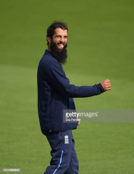 England player Moeen Ali raises a smile during England nets ahead of the 4th Test Match against India at The Ageas Bowl on August 29 2018 in...
