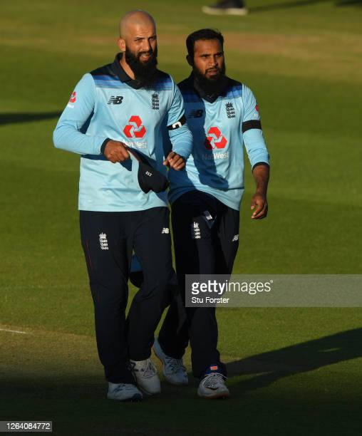 England player Moeen Ali with fellow spinner Adil Rashid during the Third One Day International between England and Ireland in the Royal London...