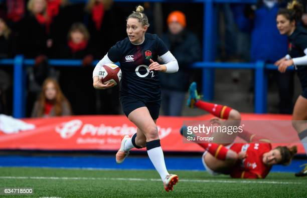 England player Natasha Hunt run's in a try during the Women's Six Nations match between Wales and England at Cardiff Arms Park on February 11 2017 in...