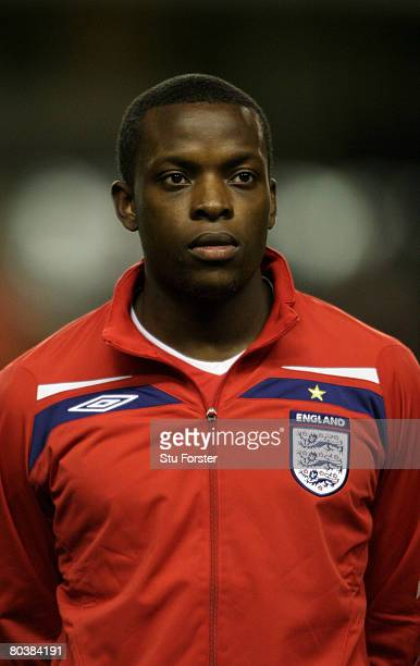 England player Nedum Onuoha looks on during the national anthem the Under21 International Friendly between England and Poland at Molineux on March 25...