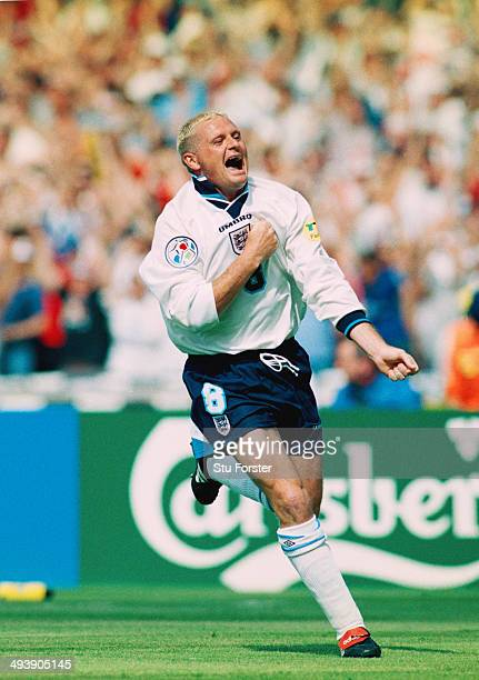 England player Paul Gascoigne celebrates after scoring the second goal during the European Championship Finals group match between England and...