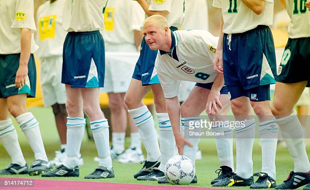 England player Paul Gascoigne looks on before the opening UEFA 1996 European Championships match between England and Switzerland at Wembley Stadium...