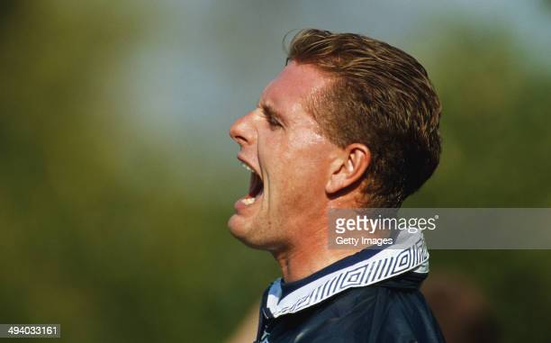 England player Paul Gascoigne reacts during an England training session at Bisham Abbey on October 12 1990 in Bisham Abbey England