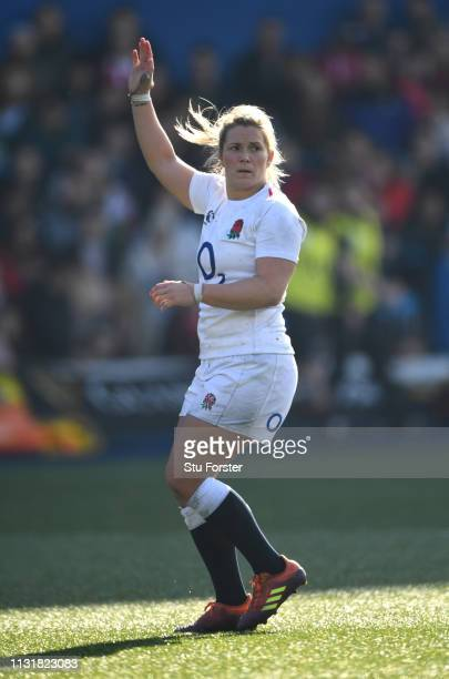 England player Rachel Burford calls for the ball during the Wales Women v England Women match in the Women's Six Nations at Cardiff Arms Park on...