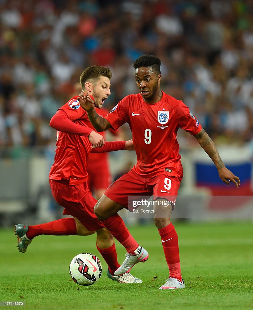 England player Raheem Sterling (r) and Adam Lallana in action during the UEFA EURO 2016 Qualifier between Slovenia and England on at the Stozice Arena on June 14, 2015 in Ljubljana, Slovenia.