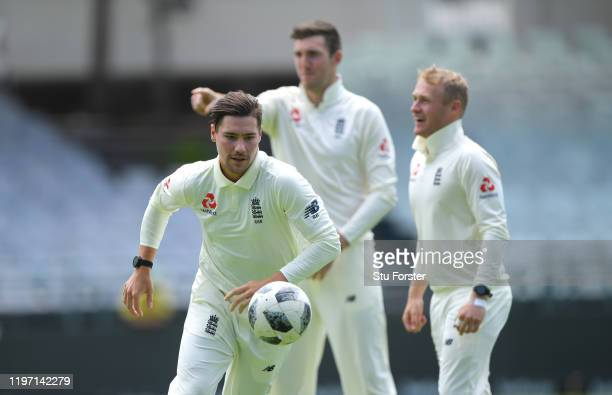 England player Rory Burns in football action during England training at Newlands ahead of the 2nd Test Match between South Africa and England on...