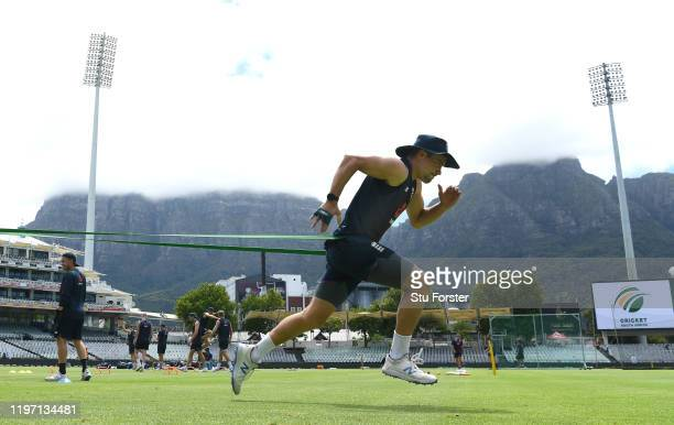 England player Rory Burns in sprinting action in the shadow of Table Mountain during England training at Newlands ahead of the 2nd Test Match between...