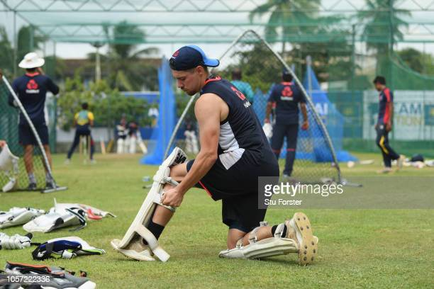 England player Rory Burns pads up during England Nets ahead of the First Test Match at Galle International Stadium on November 4 2018 in Galle Sri...