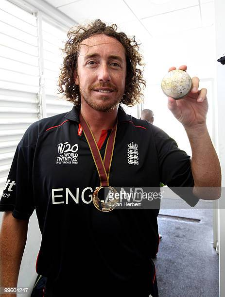 England player Ryan Sidebottom with the match ball in the teams dressing room after his teams victory against Australia in the final of the ICC World...