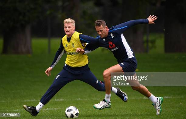 England player Sam Billings is challenged by Alex Hales during a game of football during an England training session ahead of the 4th ODI v New...