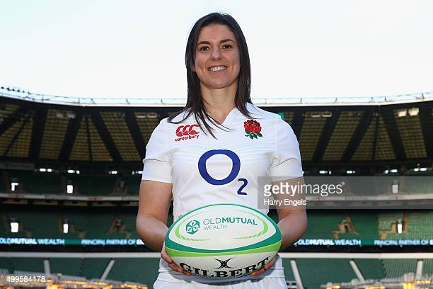 England player Sarah Hunter poses for photographs at the launch of the 2016 Old Mutual Wealth Series at Twickenham Stadium on December 2 2015 in...