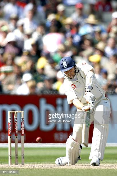England player Steve Harmison in action against Australia during the 3 Mobile Ashes Series Fourth Test Day Three December 28 held at the Melbourne...