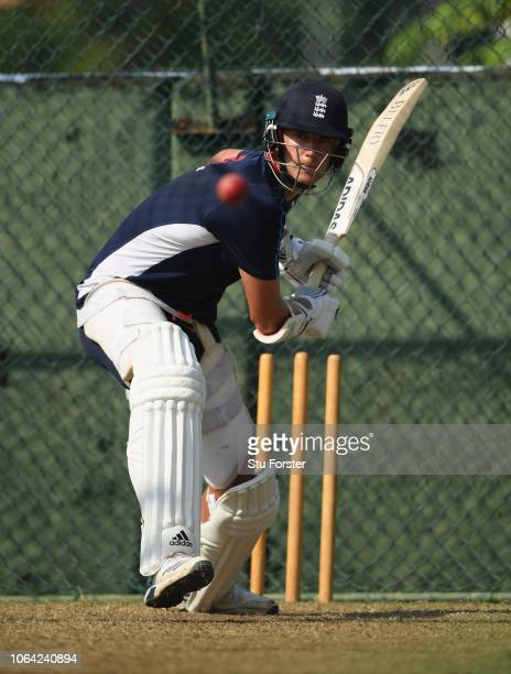 England player Stuart Broad bats during England Nets ahead of the 3rd Test Match at the Sinhalese Sports Club cricket ground on November 22, 2018 in...