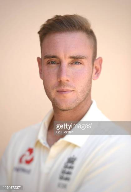 England player Stuart Broad poses for a portrait during England nets at Willowmoore Park during the England Media Access on December 16, 2019 in...