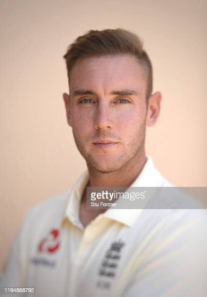 England player Stuart Broad poses for a portrait during England nets at Willowmoore Park during the England Media Access on December 16 2019 in...