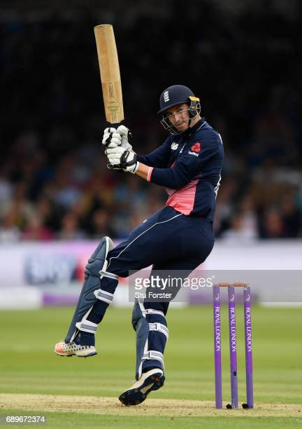 England player Toby Roland Jones hits out during the 3rd Royal London Cup match between England and South Africa at Lord's Cricket Ground on May 29...