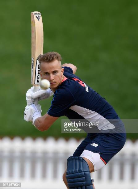 England player Tom Curran hits out during England Cricket nets at the Basin Reserve ahead of their T20 match against New Zealand on February 12 2018...