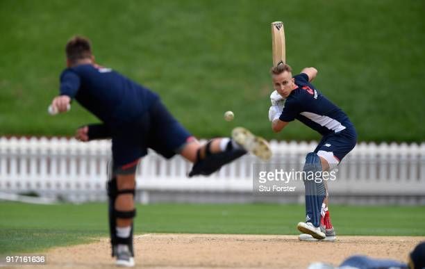 England player Tom Curran hits out from some throw downs from Jason Roy during England Cricket nets at the Basin Reserve ahead of their T20 match...