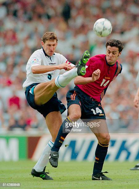 England player Tony Adams is challenged by Francisco Kiko during the 1996 European Championships quarter final match victory against Spain at Wembley...