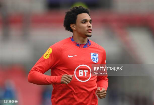 England player Trent Alexander-Arnold in action during the warm up before the international friendly match between England and Austria at Riverside...