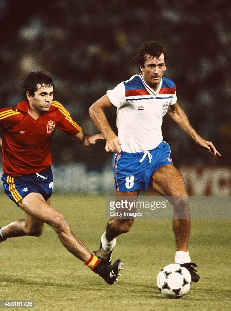 England player Trevor Francis in action during the 1982 World Cup match between Spain and England at the Bernabeu stadium on July 5 1982 in Madrid...