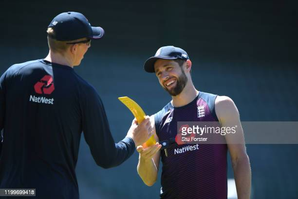 England player Zac Crawley shares a joke with Chris Woakes during England nets ahead of the 3rd Test Match against South Africa at St George's Park...