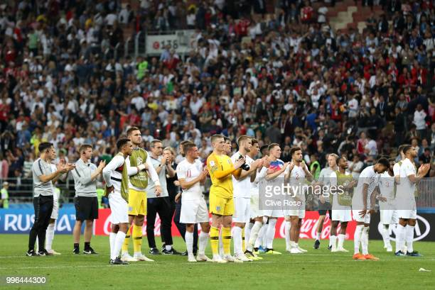 England players acknowledge the fans following the defeat in the 2018 FIFA World Cup Russia Semi Final match between England and Croatia at Luzhniki...