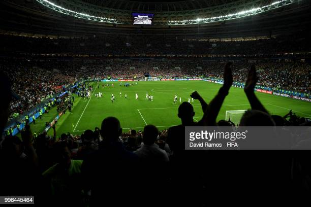 England players acknowledges the fans following the defeat in the 2018 FIFA World Cup Russia Semi Final match between England and Croatia at Luzhniki...