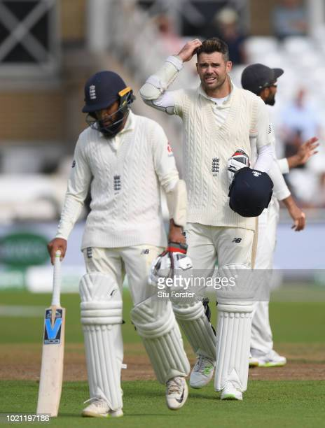 England players Adil Rashid and James Anderson leave the field after day 5 of the 3rd Test Match between England and India at Trent Bridge on August...