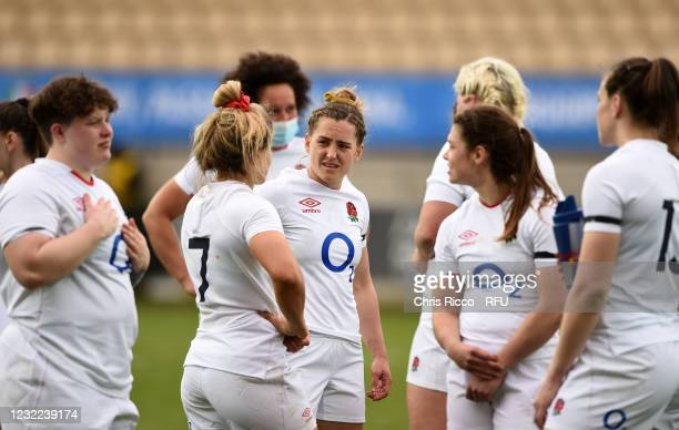 England players after the match during the Women's Six Nations match between Italy and England at Stadio Sergio Lanfranchi on April 10, 2021 in...