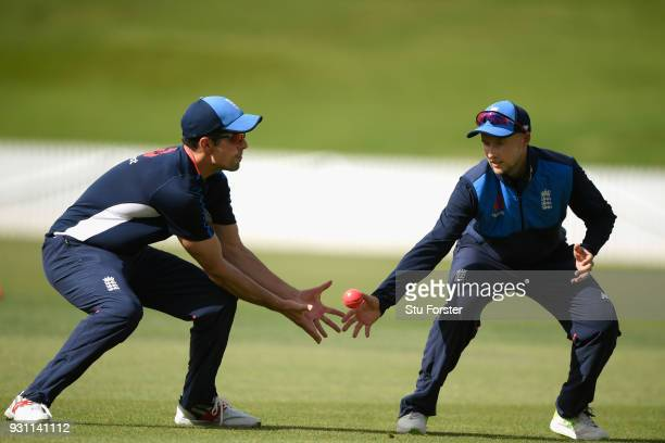England players Alastair Cook and Joe Root during slip catching practice during England nets ahead of their first warm up match at Seddon Park on...