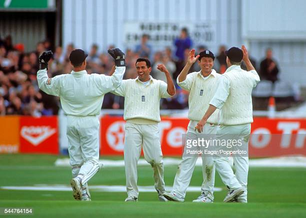 England players Alec Stewart Adam Hollioake Mike Atherton and Nick Knight celebrate a wicket during the 1st Texaco Trophy One Day International...