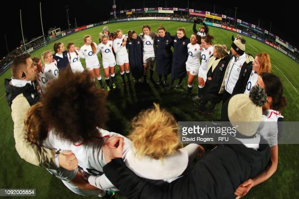 England players and coaches celebrate victory after the Women's Six Nations match between Ireland and England at Energia Park, Donnybrook on February...
