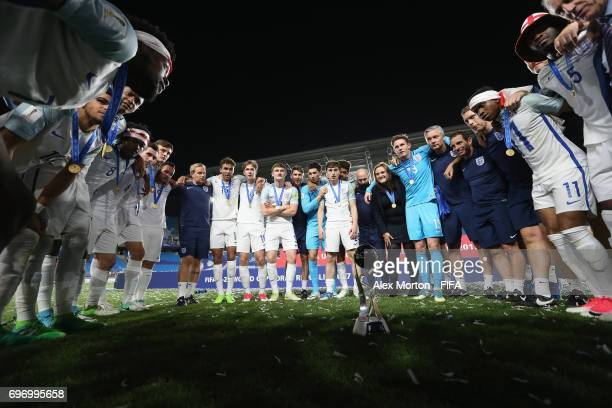 England players and staff celebrate after the FIFA U20 World Cup Korea Republic 2017 Final match between Venezuela and England at Suwon World Cup...